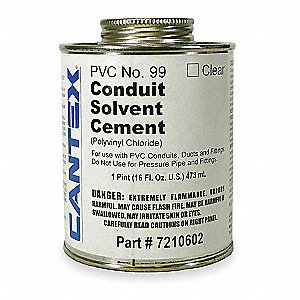 Cement, Clear, 16 oz., for PVC Conduit and Fittings