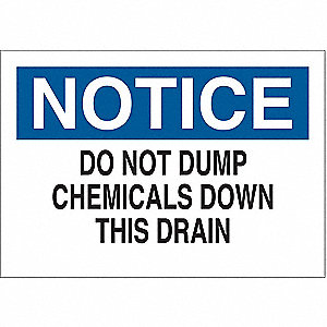 "Chemical, Gas or Hazardous Materials, Notice, Fiberglass, 10"" x 14"", With Mounting Holes"