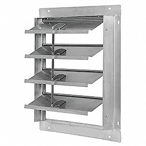 "16"" Backdraft Damper / Wall Shutter, 16-1/2"" x 16-1/2"" Opening Required"