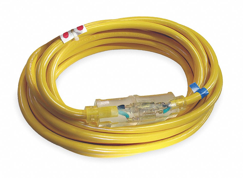 100 ft. Indoor, Outdoor Lighted Extension Cord; Max Amps: 13.0, Number of Outlets: 1, Yellow