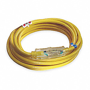 100 ft. Indoor, Outdoor Lighted Extension Cord; Max Amps: 20.0, Number of Outlets: 1, Yellow