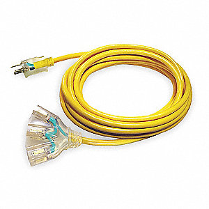 100 ft. Indoor, Outdoor Lighted Extension Cord; Max Amps: 15.0, Number of Outlets: 3, Yellow