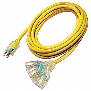 Extension Cord,  Outdoor,  15.0 A,  125V AC,  Number of Outlets 3,  Yellow