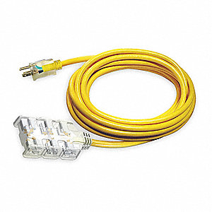 25 ft. Indoor, Outdoor Lighted Extension Cord; Max Amps: 15.0, Number of Outlets: 6, Yellow