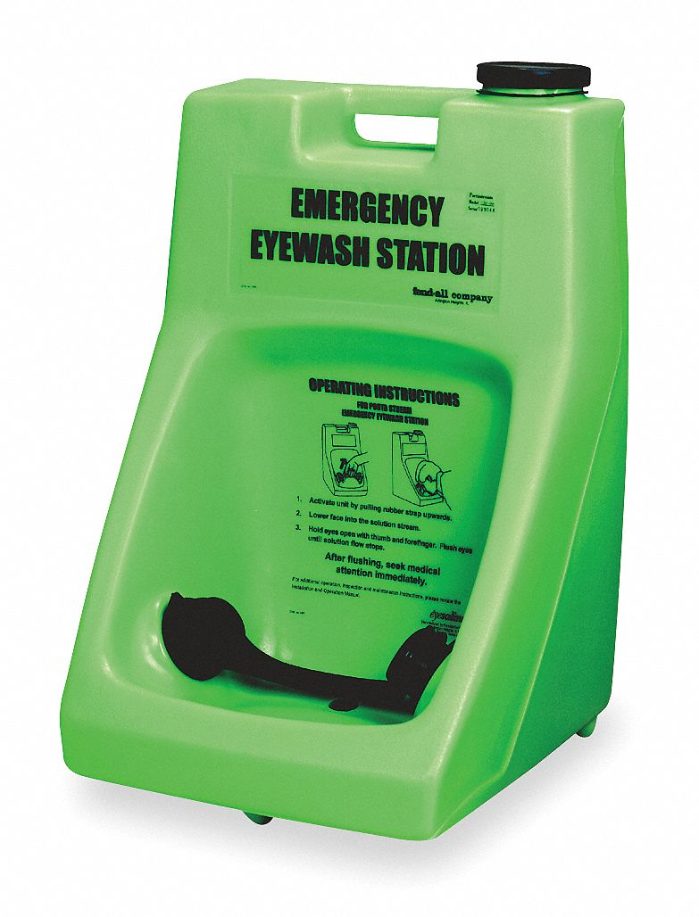 Eye Wash Station,  6.0 gal Tank Capacity,  Activates By Gravity Feed,  Stand or Cart, Wall Mounting
