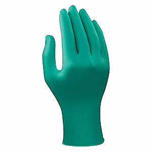 "9-1/2"" Powder Free Unlined Smooth Nitrile Disposable Gloves, Teal, Size L, 100PK"