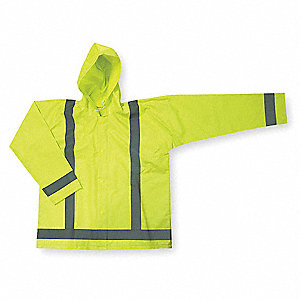 Unisex Hi-Visibility Yellow/Green PVC Rain Jacket with Detachable Hood, Size 2XL, Fits Chest Size 52