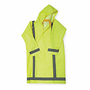 "Unisex Hi-Visibility Yellow/Green PVC Rain Coat with Detachable Hood, Size L, Fits Chest Size 44"" to"