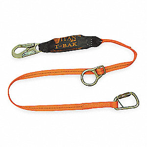 Stretchable, Tie Back Shock-Absorbing Lanyard, Number of Legs: 1, Working Length: 6 ft.