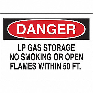 "No Smoking, Danger, Fiberglass, 14"" x 20"", With Mounting Holes, Not Retroreflective"