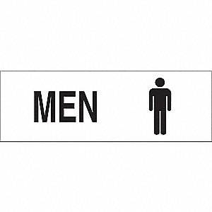 Restroom Sign,4 x 12In,BK/WHT,Men,ENG