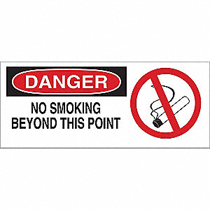 "No Smoking, Danger, Fiberglass, 7"" x 17"", With Mounting Holes, Not Retroreflective"