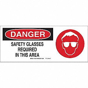 "Personal Protection, Danger, Fiberglass, 7"" x 17"", With Mounting Holes, Not Retroreflective"