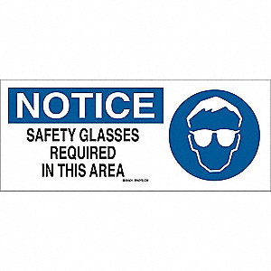 Notice Sign,7 x 17In,BL and BK/WHT,ENG