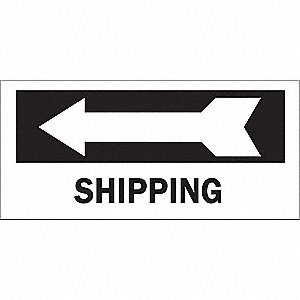 Directional Sign,6-1/2 x 14In,BK/WHT,ENG