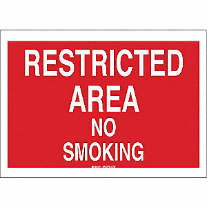 No Smoking Sign,10 x 14In,WHT/R,ENG,Text