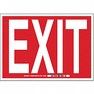 Exit Sign,7 x 10In,R/WHT,Exit,ENG,Text