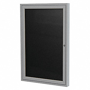 "Letter Board Outdoor Enclosed Bulletin Board, Vinyl, 36""H x 24""W, Black"