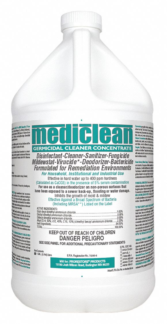 Disinfectant and Sanitizer,  1 gal Cleaner Container Size,  Jug Cleaner Container Type