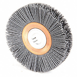 "4"" Crimped Wire Wheel Brush, Arbor Hole Mounting, 0.035"" Wire Dia., 1"" Bristle Trim Length, 1 EA"