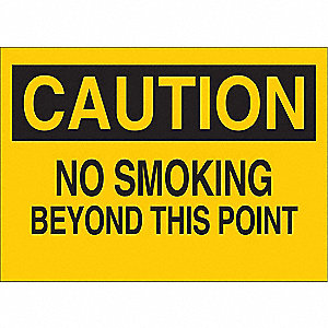 Caution No Smoking Sign,10 x 14In,BK/YEL