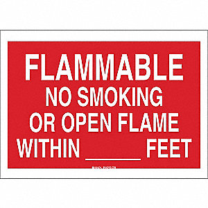 "No Smoking, Flammable, Polyester, 10"" x 14"", Adhesive Surface, Not Retroreflective"