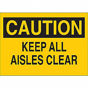 Caution Sign,7 x 10In,BK/YEL,ENG,Text