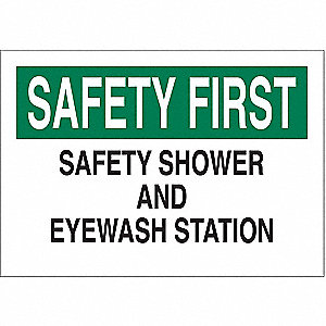 Safety Shower Sign,10 x 14In,ENG,Text
