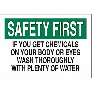 "Eyewash and Shower, Safety First, Plastic, 7"" x 10"", With Mounting Holes, Not Retroreflective"