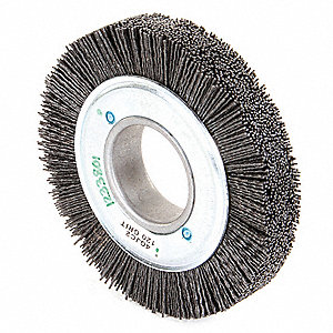"Arbor Hole Wire Wheel Brush, Synthetic, 6"" Brush Dia."