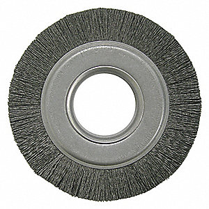 "6"" Crimped Wire Wheel Brush, Arbor Hole Mounting, 0.026"" Wire Dia., 1"" Bristle Trim Length, 1 EA"