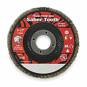 "4-1/2"" Arbor Mount Flap Disc, Type 29, Ceramic, 60 Grit, 5/8-11 Mounting Size, Saber Tooth"