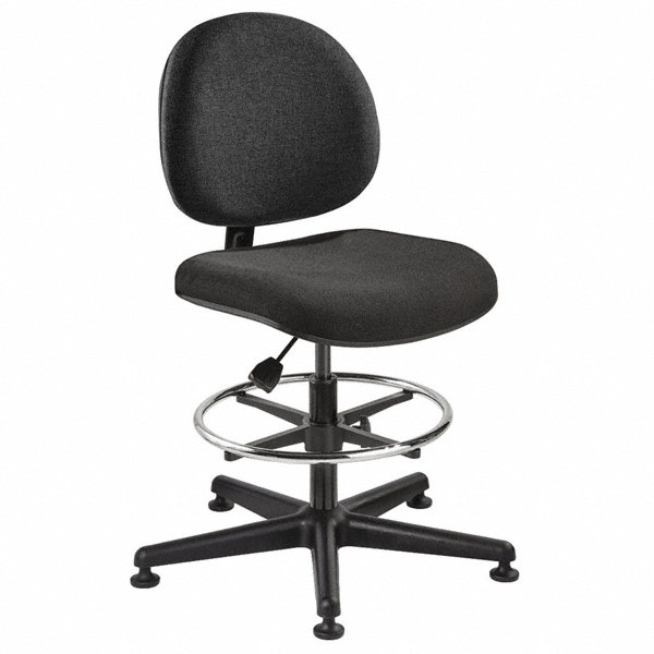 BEVCO Black Fabric Task Chair 15 Back Height Arm Style No Arms 4GJK