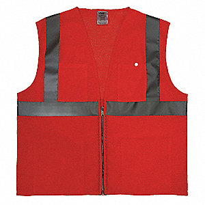 Orange/Red with Silver Stripe High Visibility Vest, ANSI 2, Zipper Closure, 4XL