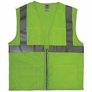 Yellow/Green with Silver Stripe Traffic Vest, ANSI 2, Zipper Closure, 3XL