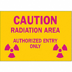 "Radiation and X-Ray, Caution, Fiberglass, 14"" x 20"", With Mounting Holes, Not Retroreflective"