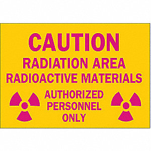 Caution Radiation Sign,10 x 14In,ENG