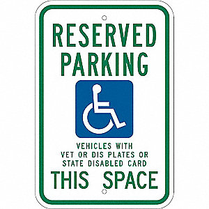 "Handicap Parking Sign,18""x12"",Aluminum"