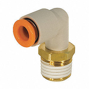 "Brass, Polybutylene Male Elbow, 90°, 3/16"" Tube Size"
