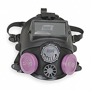 Threaded Connection Full Face Respirator With Welding Attachment, 5 Point Suspension, M/L