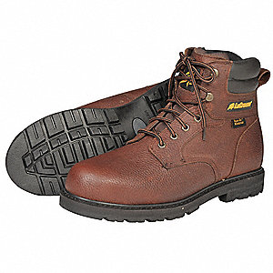 "6""H Men's Work Boots, Steel Toe Type, Leather Upper Material, Brown, Size 9"