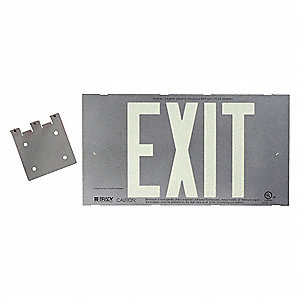 Exit Sign,8-1/4 x 15In,GRN/SIL,Exit,ENG