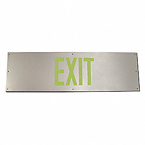 "Door Kick Plate Exit Sign, Brushed Aluminum, Photoluminescent, 10"" Height, 34"" Width"