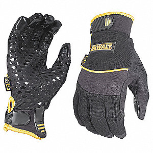 General Utility Mechanics Gloves, Synthetic Suede/Silicone Grips Palm Material, Black, S, PR 1