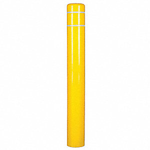 "72""H High Density Polyethylene Bollard Cover For Post Size with 8"" dia., Yellow"