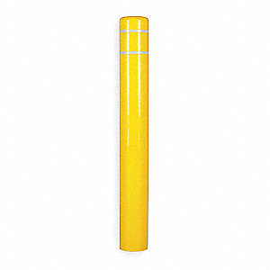 "60""H High Density Polyethylene Bollard Cover For Post Size with 7"" dia., Yellow"