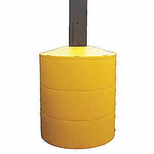 "Light Pole Base Cover, Yellow, For Post Size 6"", For Post Shape Round"