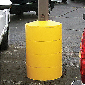 "Light Pole Base Cover, Yellow, For Post Size 5"", For Post Shape Square"
