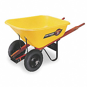 Wheelbarrow, 8 cu. ft. Capacity, Tray Material: Poly, Number of Wheels: 2