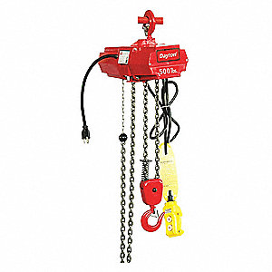 H2 Electric Chain Hoist, 500 lb. Load Capacity, 115V, 10 ft. Hoist Lift, 7 fpm